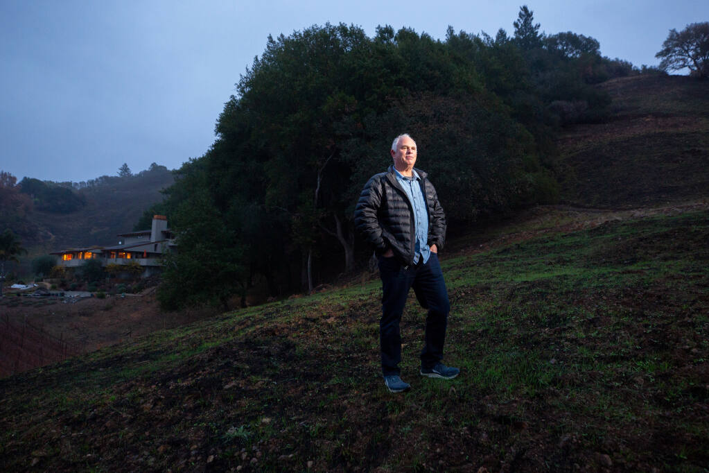 Determined not to have another house burn down in a wildfire, Ben Miller invested in creating substantial defensible space around his home on Plum Ranch Road, which protected it from the Glass fire when the inferno completely surrounded his home in Santa Rosa, California, on Friday, Dec. 11, 2020. (Alvin A.H. Jornada / The Press Democrat)