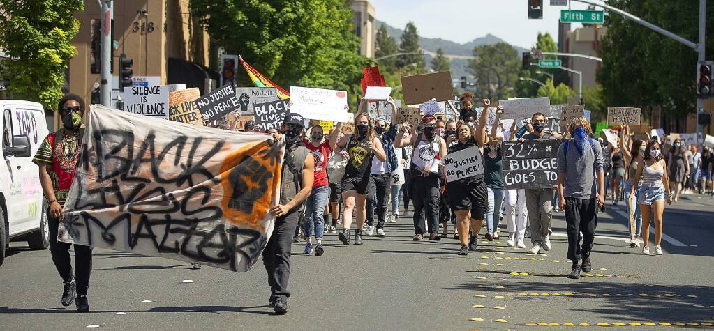 Black Matters demonstrators marching down Mendocino Avenue on June 5. (John Burgess / The Press Democrat)