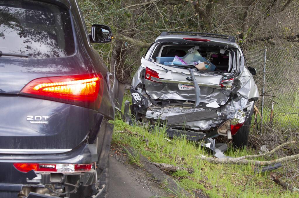 Vehicle accident on Napa Road on Monday, March 8, 2021. (Robbi Pengelly/Index-Tribune)
