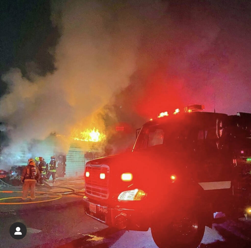 On Saturday, Sept 12, 2020, around 3 a.m., a car slammed into the Palace of Fruit on Old Redwood Highway, igniting a blaze. (Rancho Adobe Fire Department)