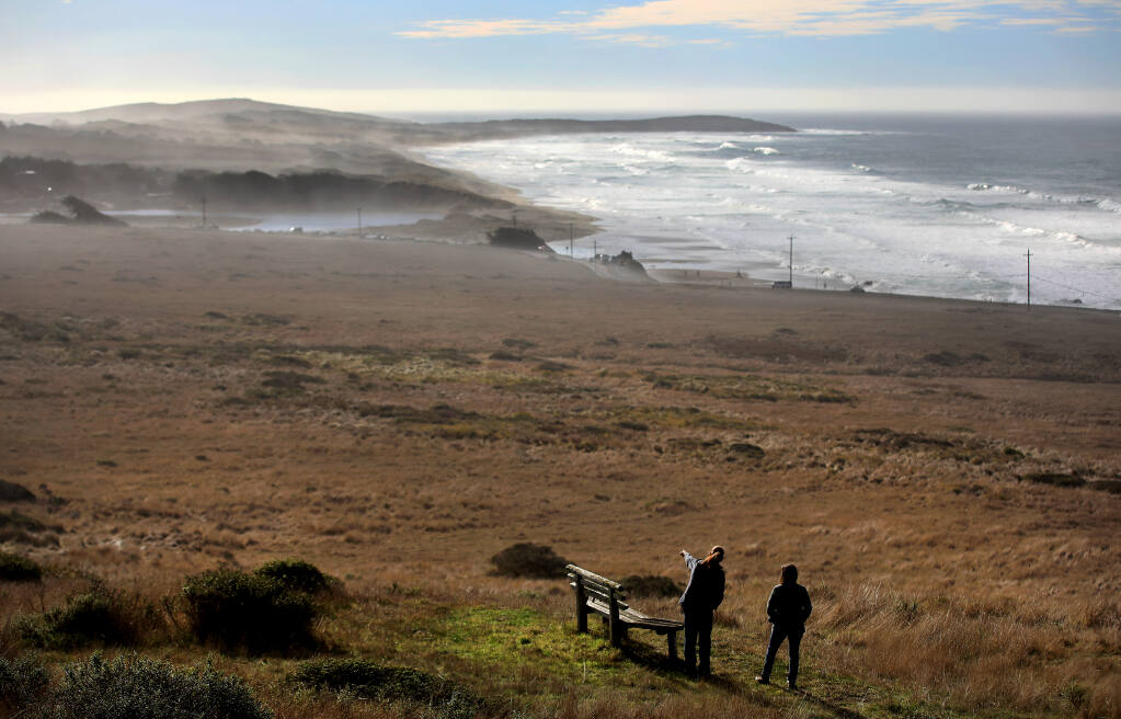 Melanie Parker, deputy director of Sonoma County Regional Parks, left, and Misti Arias, acquisition manager of the Sonoma County Agricultural Preservation and Open Space District, tour Carrington Ranch on the coastal bluff above Salmon Creek, Thursday, Dec. 31, 2020 north of Bodega Bay. The 335-acre ranch was transferred from the Open Space district to Regional Parks. (Kent Porter / The Press Democrat) 2020