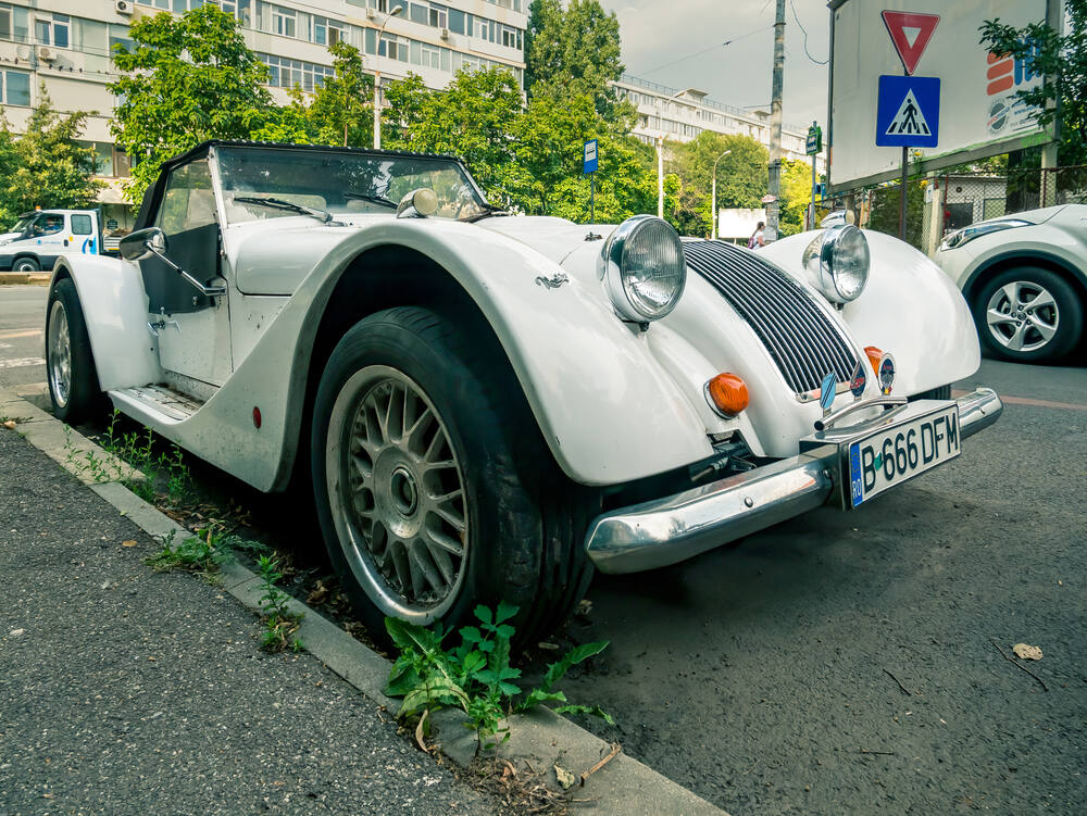 This photo shows a similar Morgan vintage car in Romania in 2020. Made by the Morgan Motor Company in Malvern, Worcestershire, UK. (Cristi Croitoru/Shutterstock)