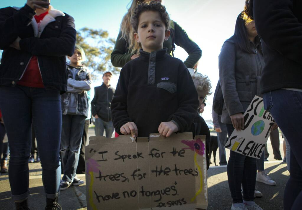 Petaluma, CA, USA._Friday, March 15, 2019. Henry James, 6, of Cotati joined students from Petaluma schools in a rally and protest over climate change. (CRISSY PASCUAL/ARGUS-COURIER STAFF)
