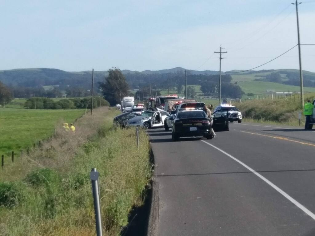 One person was killed and multiple people injured in a two-car crash on Valley Ford Road in west Sonoma County on Friday, May 4, 2018. (COURTESY OF MATTHIAS LAMERS)
