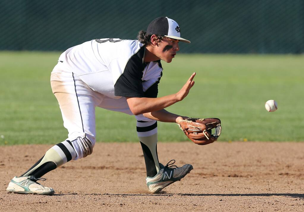 Jake Scheiner, seen here while a student at Maria Carrillo High School, fields the ball during a baseball game versus Sonoma Valley High School in 2013. Scheiner, who now plays baseball for Santa Rosa Junior College, has been voted Big 8 most valuable player. (PD FILE, 2013)