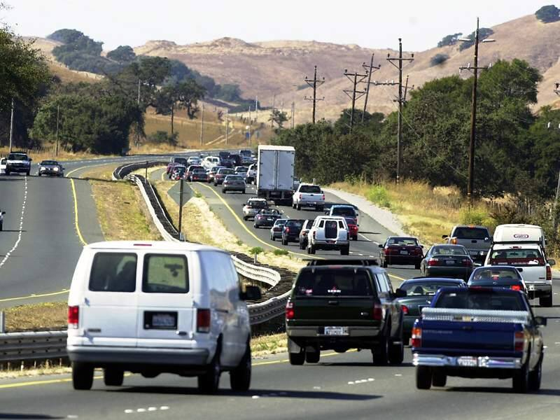 Traffic moves on Highway 101 through the Sonoma-Marin Narrows north of Novato. (The Press Democrat)