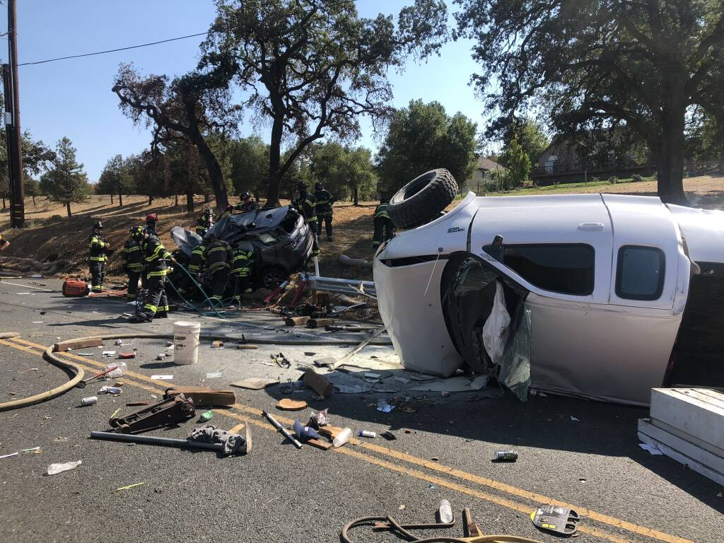 A head-on car crash in northeast Santa Rosa near Highway 12 prompted a vehicle extrication and left two injured on Sunday. (Santa Rosa Fire Department)