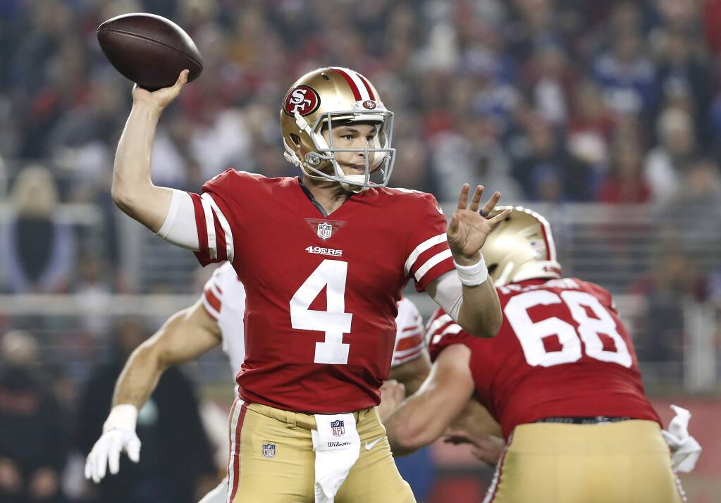 San Francisco 49ers quarterback Nick Mullens passes against the New York Giants during the second half in Santa Clara, Monday, Nov. 12, 2018. (AP Photo/Tony Avelar)