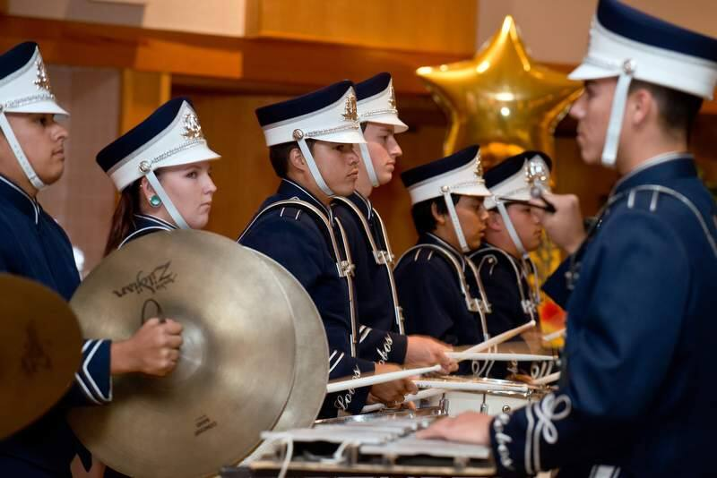 The Elsie Allen High School Drum Line performs during Schools Plus fourth annual fundraiser 'A Night Under the Lights at the Friedman Center in Santa Rosa, Calif., on October 19, 2013. (Alvin Jornada / The Press Democrat)