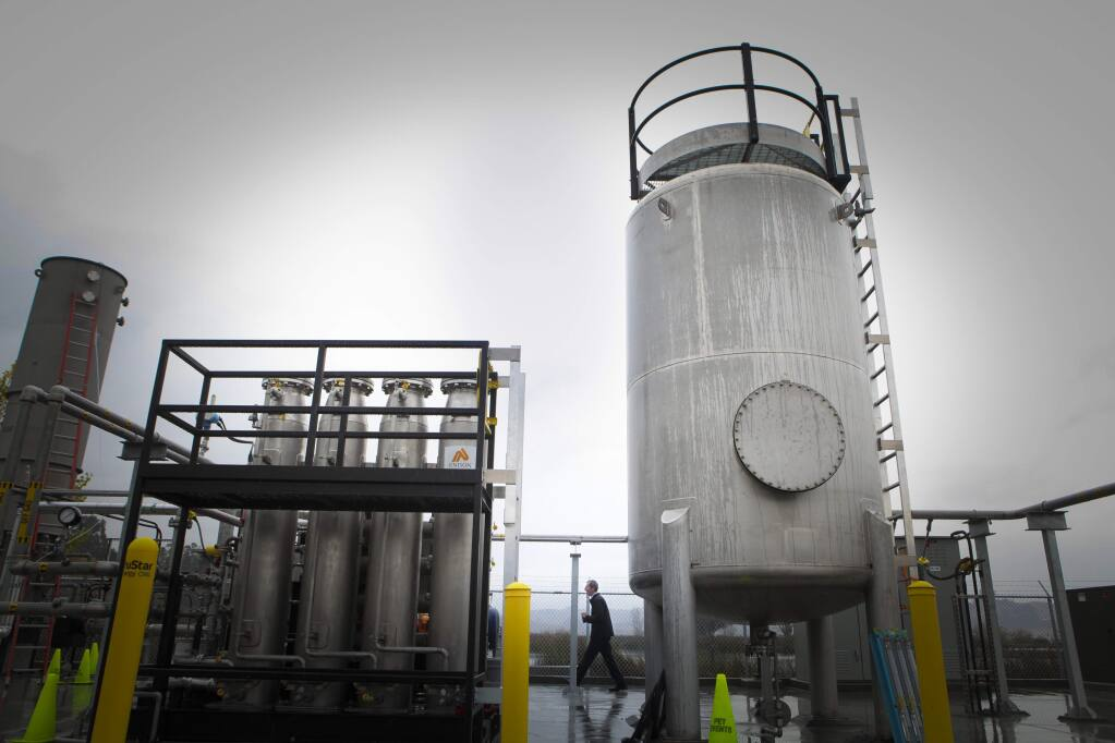 "Petaluma, CA, USA. Wednesday, December 04, 2019._The Ellis Creek Water Recycling Facility conducts a tour to introduce some of their newly constructed machines including a ""biogas to biofuel system"". (CRISSY PASCUAL/ARGUS-COURIER STAFF)"