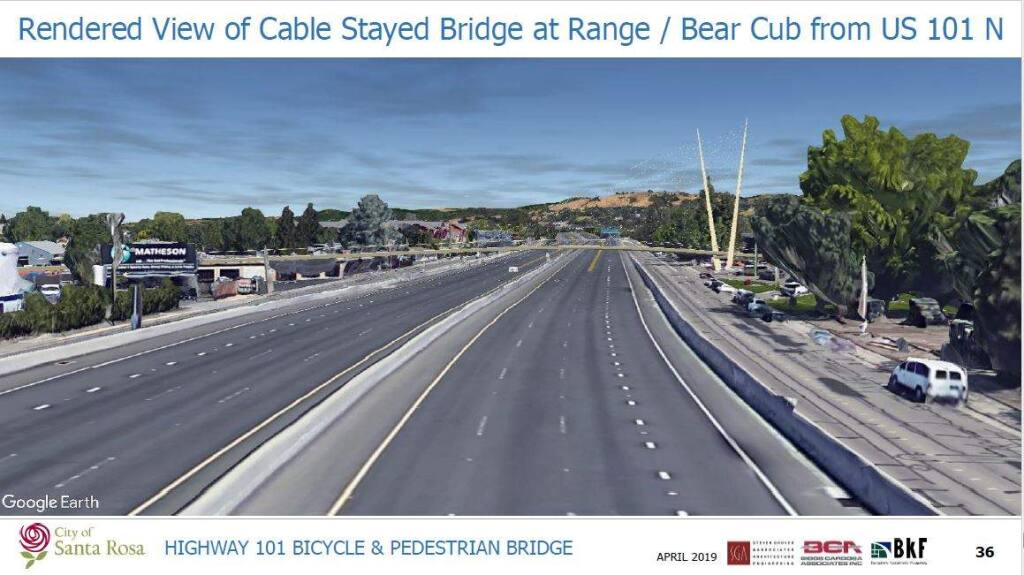 One in a series of architectural renderings of potential designs for the proposed pedestrian and bike bridge over Highway 101 in north Santa Rosa. (City of Santa Rosa)