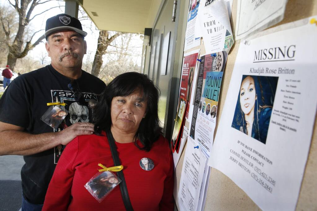 Jerry Britton Jr. and Connie Hostler, the father and mother of Khadijah Britton, 23, who was last seen being taken by her boyfriend at gunpoint in early February, according to witnesses. Photo taken on Tuesday, March 27, 2018 in Covelo, California . (BETH SCHLANKER/The Press Democrat)