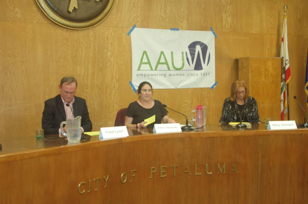 Petaluma City Schools board candidates, from left, Frank Lynch, Ellen Webster and Mary Johnson participate in a forum at City Hall on Oct. 4. MATT BROWN/ARGUS-COURIER STAFF