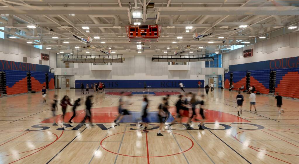 The new gymnasium at Rancho Cotate High School, Thursday, Feb. 13, 2020, in a brand-new $52 million complex that also includes a theater arts building, in Rohnert Park. (Kent Porter / The Press Democrat)