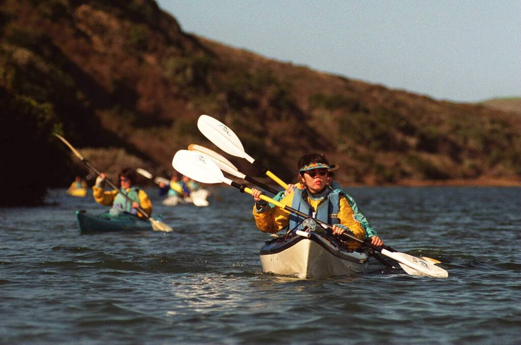 Kayakers on Drakes Estero in Point Reyes National Seashore. (The Press Democrat)