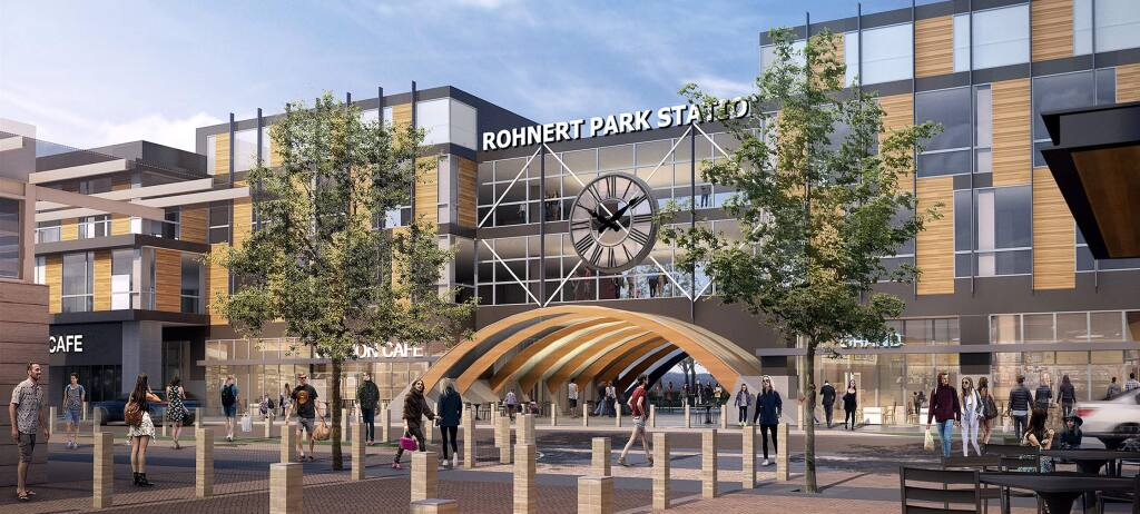 Riders of the SMART commuter line would have this new view at the Rohnert Park stop, with the Station Avenue redevelopment, seen in this architectural rendering, of the former State Farm Insurance building. (COURTESY OF LAULIMA DEVELOPMENT) June 28, 2018