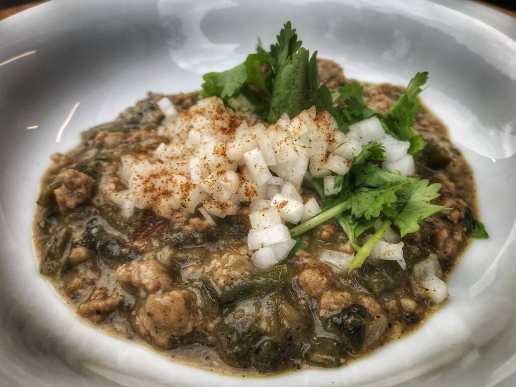 The Hatch Green Chile Stew from Chris and Ciara Greenwald of Bay Laurel Culinary uses the Hatch Green Chile Powder from Savory Spice Shop of Santa Rosa and Sonoma. (Chris Greenwald)