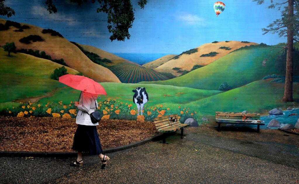 Michelle Harris of Santa Rosa walks in downtown Santa Rosa as steady rain falls on Wednesday, May 15, 2019. (KENT PORTER/ PD)