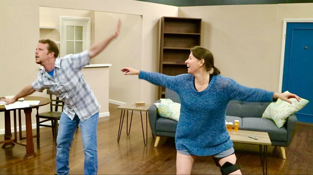 """Trevor L. Hoffman (left) and Jess Headington (right) in Cinnabar Theater's """"Dancing Lessons."""" (COURTESY OF CINNABAR THEATER)"""