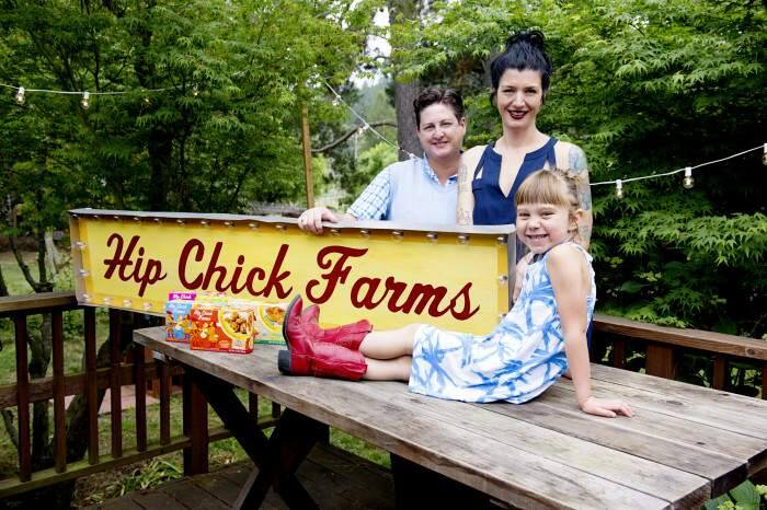 Jennifer Johnson, left, and Serafina Palendech, with their daughter, Rubyrose. (Courtesy of Hip Chick Farms)