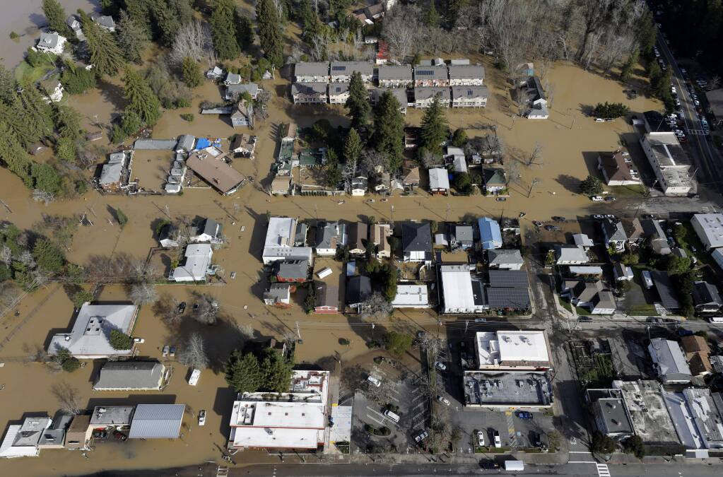 Much of Guerneville remains flooded on Thursday, Feb. 28, 2019. (BETH SCHLANKER/ PD)