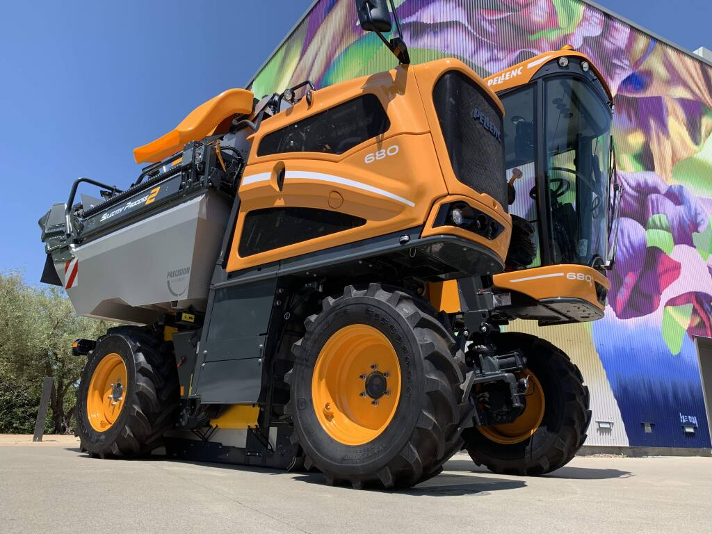 A Pellenc 680 grape harvester sits outside The Culinary Institute of America at Copia event center in Napa on Wednesday, May 8, 2019, for the Vineyard Economic Symposium. (Jeff Quackenbush / North Bay Business Journal)