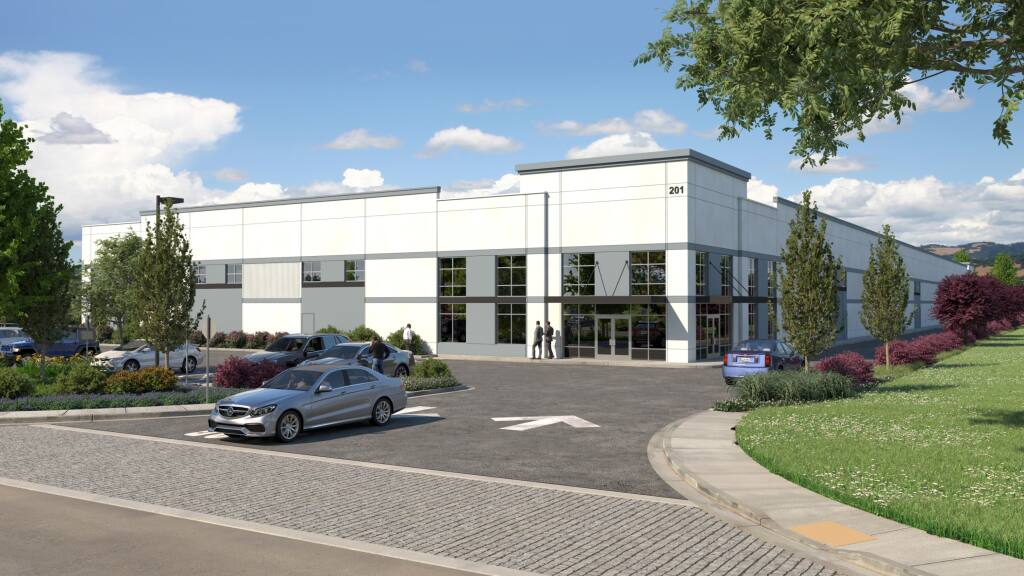 Architectural rendering of a 70,000-square-foot industrial building under construction at 201 Business Park Drive in Rohnert Park. (courtesy of Cushman & Wakefield)