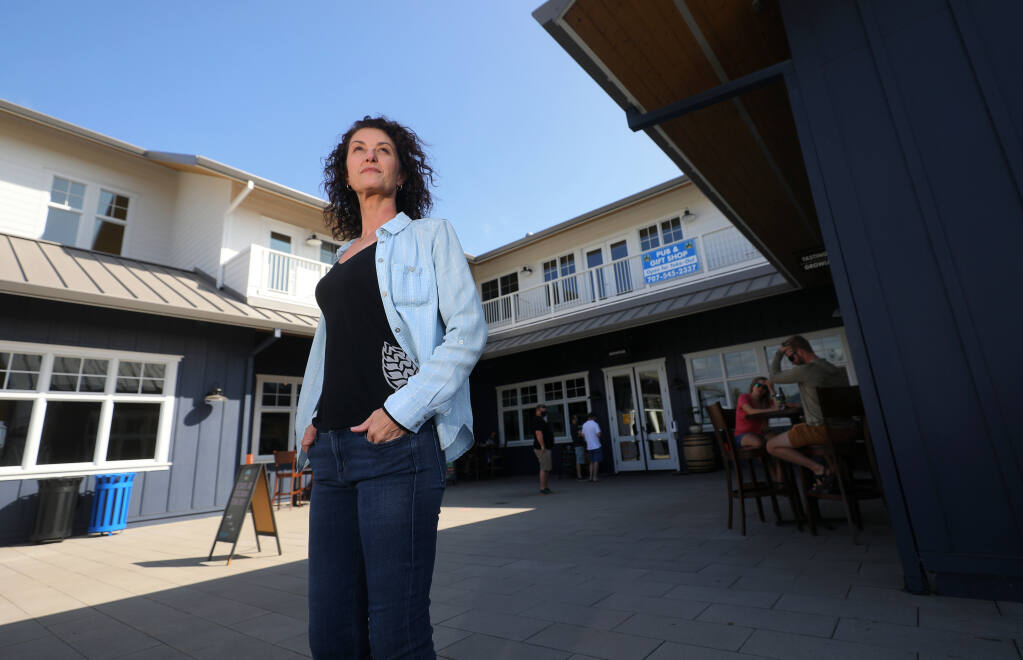 Russian River Brewing Company co-owner Natalie Cilurzo and her husband Vinnie have had to adapt their business to restrictions brought on by the coronavirus pandemic over the past six months.(Christopher Chung/ The Press Democrat)