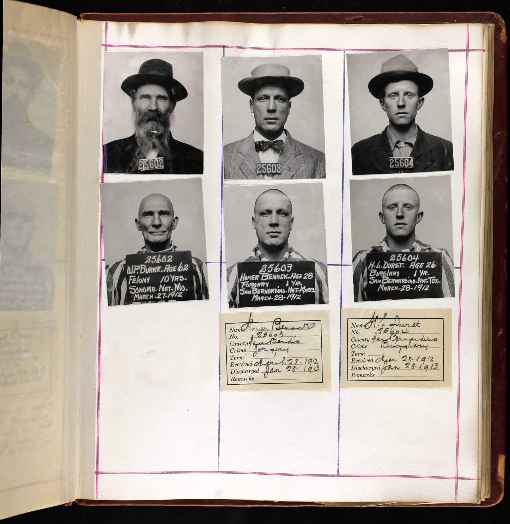 Dr. Williard Burke, upper and lower left corners, at San Quentin prison in 1912. The upper left photo was taken upon his arrival at the prison; the lower left was taken after his head was shaved. (ANCESTRY.COM)