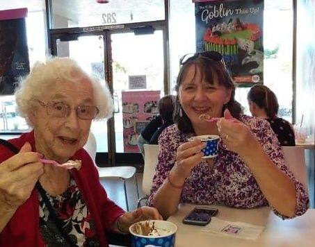 FAMILY TRADITION: MaryEvelyn Panttaja (left) and Susan Panttaja (right) enjoying a trip to the ice cream shop, one of the beloved elementary school teacher's favorite treats.