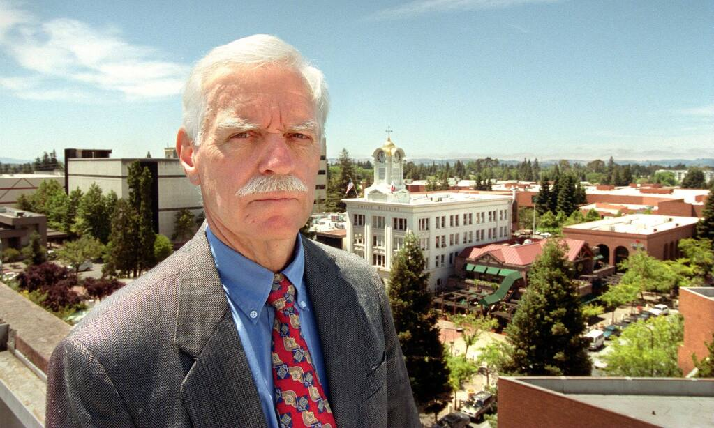 Ken Blackman played a major role in the life of Santa Rosa during his 30 years as city manager. Atop the Rosenberg Building in downtown Santa Rosa.