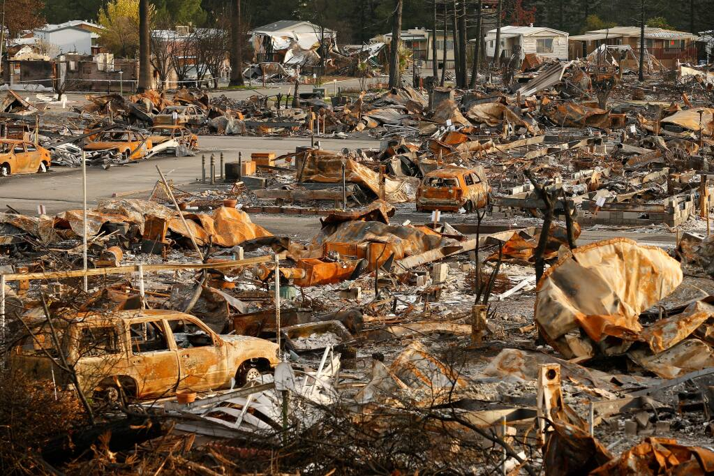 Journey's End mobile home park, where residents Linda Tunis and Marilyn Ress died during the Tubbs Fire in Santa Rosa, California on Monday, October 9 2017. (Alvin Jornada / The Press Democrat)