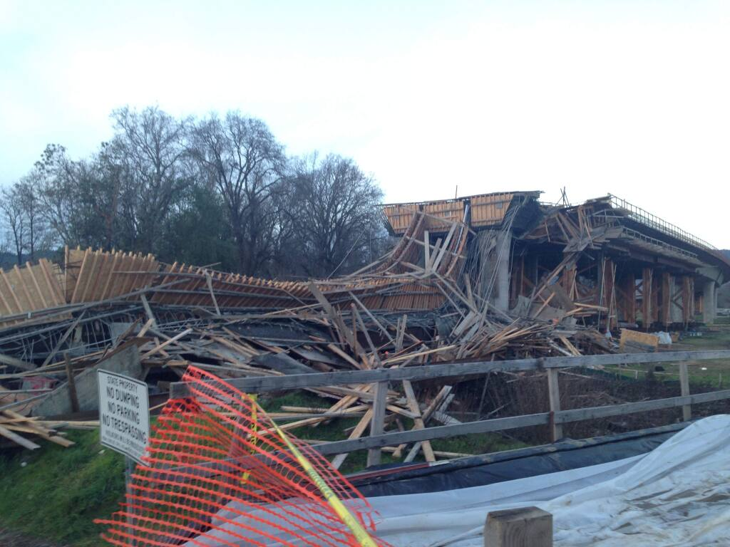 A view of the Highway 101 bypass project in Willits, after a section collapsed Thursday, Jan. 22, 2015. (Crista Jeremiason / PD)