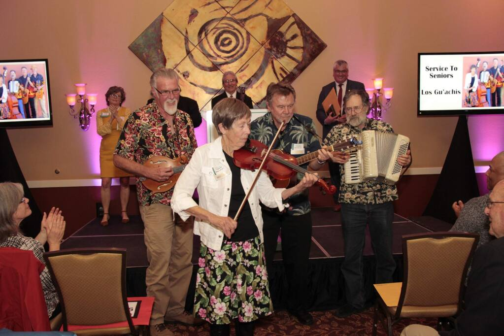 Service to Seniors winner, Los Gu'achis playing to the crowd at the 2018 Petaluma Awards of Excellence held on April 5, 2018 at the Rooster Run Golf Club in Petaluma, CA. JIM JOHNSON for the Argus Courier.