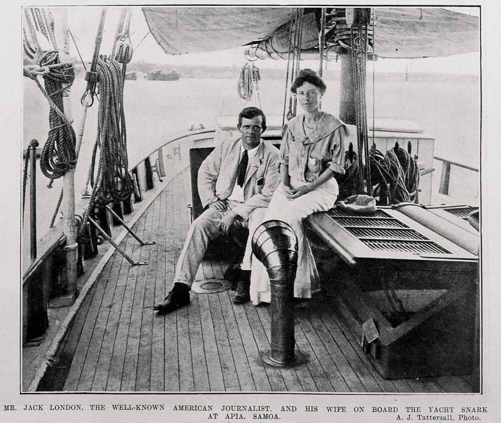 A New Zealand newspaper photographer captured 'the well-known American journalist' and his wife Charmian, docked near Samoa.