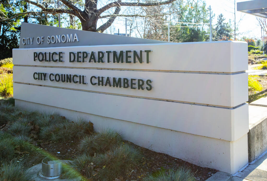 The City Council Chambers and Sonoma Police Department share a common building on First Street West. (Photo by Robbi Pengelly/Index-Tribune)