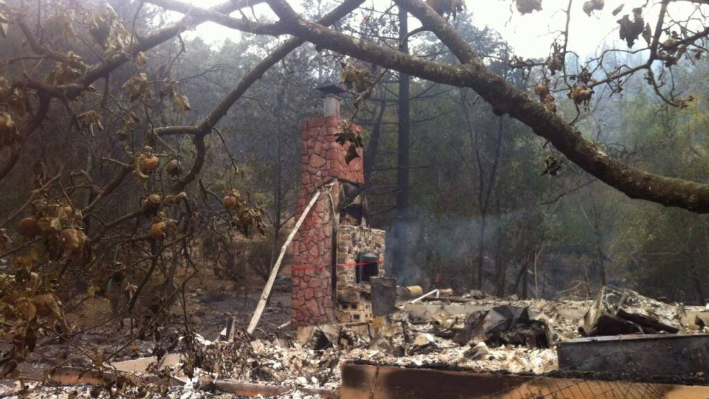 The home of Barbara McWilliams, destroyed in the Valley Fire over the weekend. McWilliams, 72, died in the blaze. (KENT PORTER/ PD)
