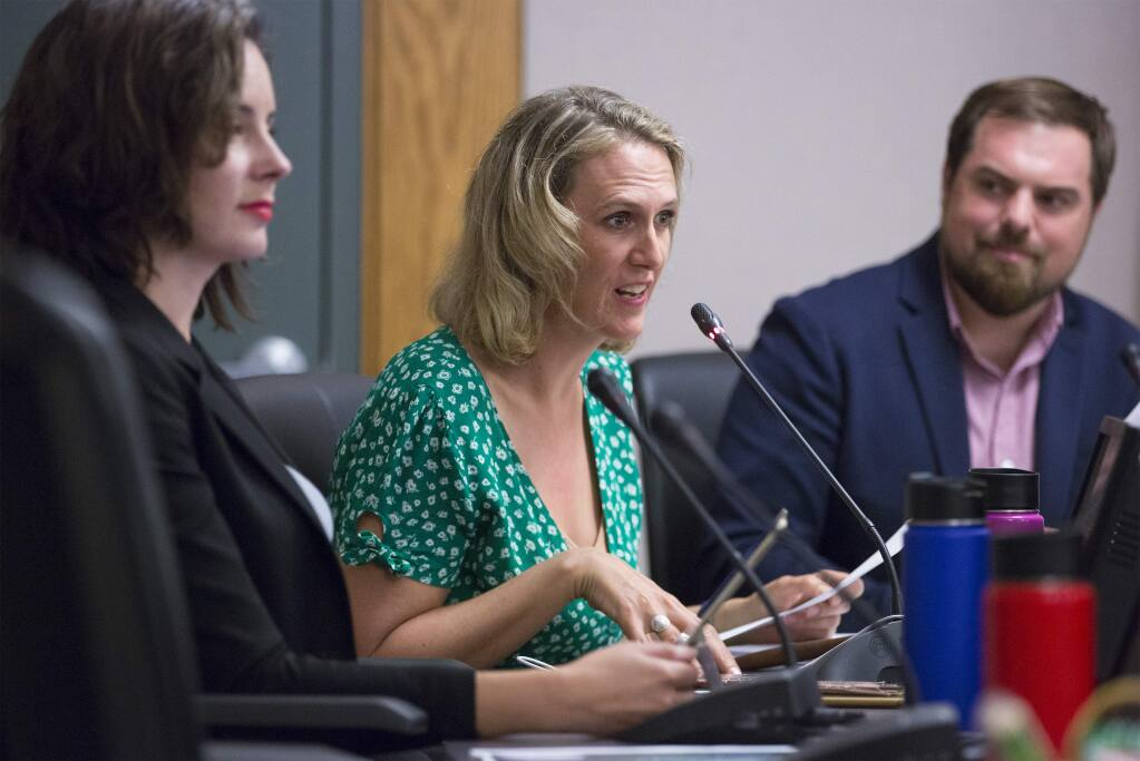 City Council members, from left, Rachel Hundley, Amy Harrington, and Logan Harvey., at the City Council meeting on October 21. (Photo by Robbi Pengelly/Index-Tribune)
