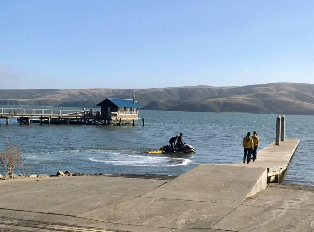 Emergency crews search for a missing Tomales Bay Oyster Co. employee on Tomales Bay on Tuesday, July 18, 2017. (@MARINCOUNTYFIRE)