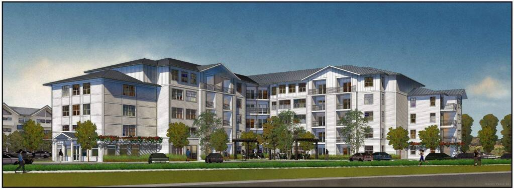 A rendering of Basin Street Properties' Marina Apartments project, as seen from Lakeville Street (image courtesy city of Petaluma)