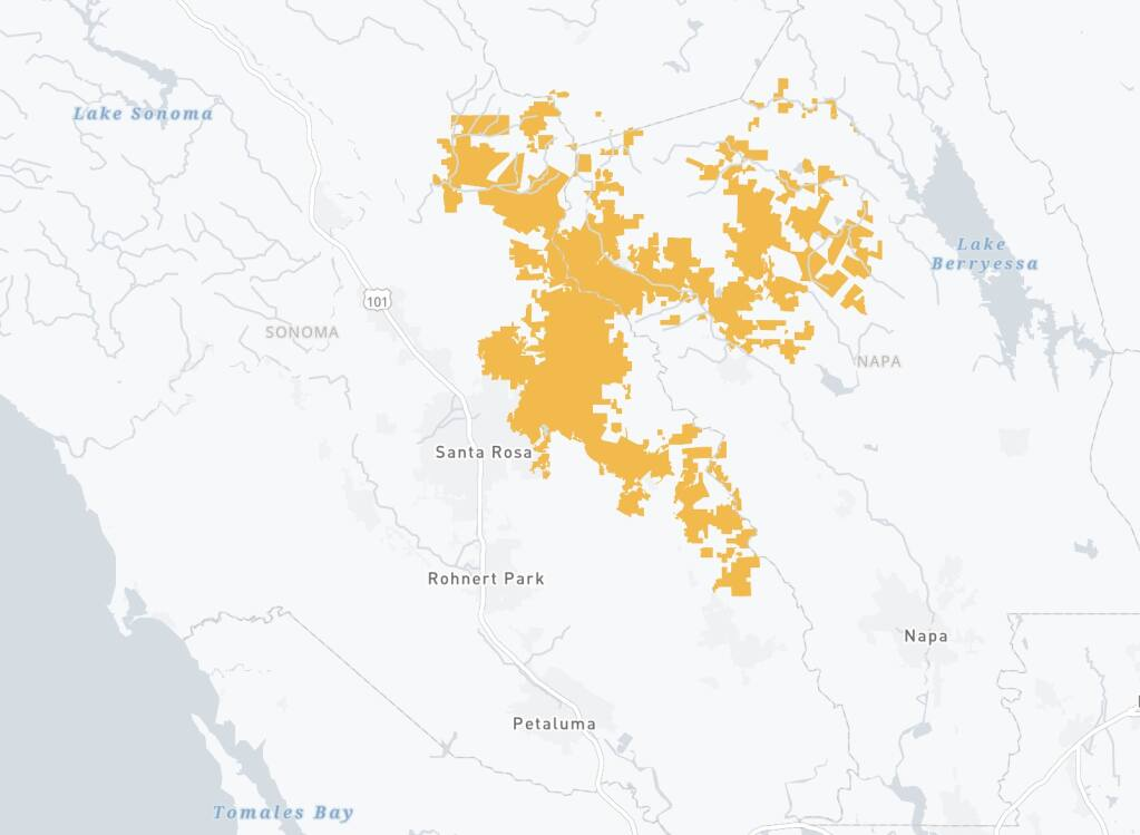 A map showing the boundaries of potential Public Safety Power Shutoffs in the North Bay published online by PG&E on Monday, Sept. 7, 2020. (PG&E)