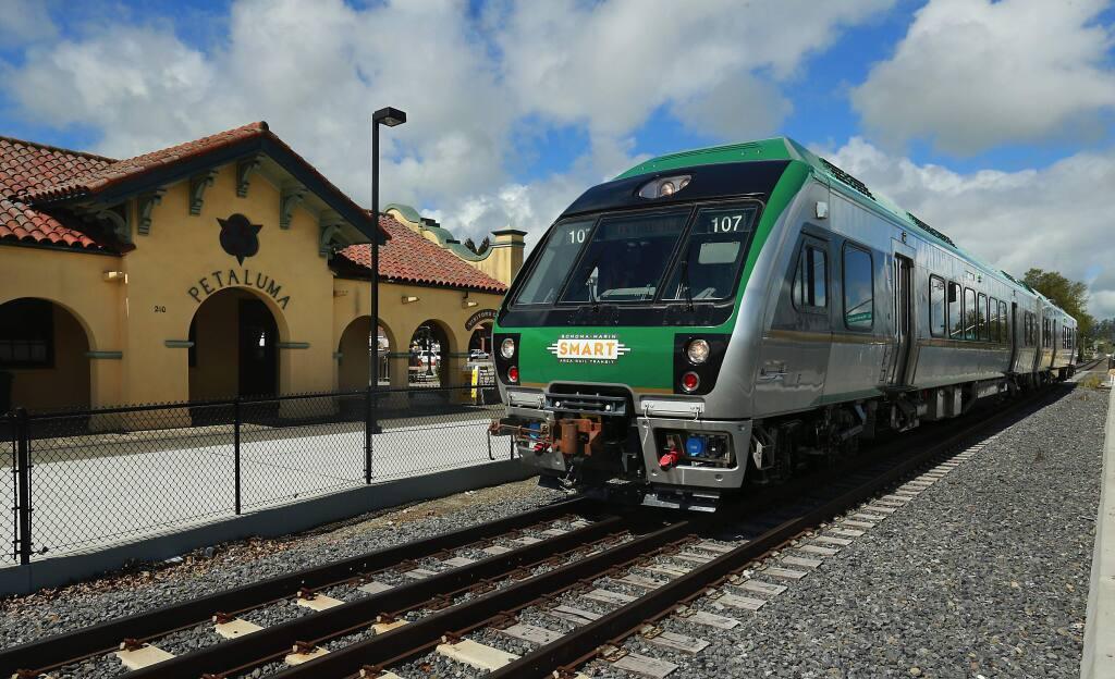The SMART train at the Petaluma Downtown station. (John Burgess/The Press Democrat)
