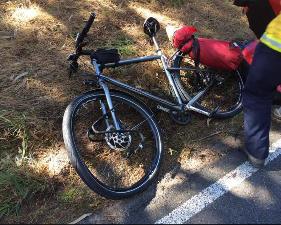 An injured bike rider was flown to a Santa Rosa hospital after being struck by a hit-and-run driver while riding along Highway 1 in The Sea Ranch on Monday, Oct. 15, 2018, according to California Highway Patrol. (CHP - SANTA ROSA/ FACEBOOK)