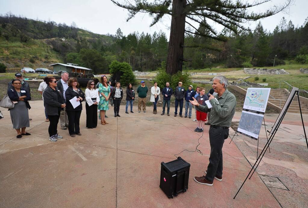 Ruben Arquilevich, executive director of Camp Newman, talks during a gathering to commemorate their rebuilding progress, near Santa Rosa on Thursday, May 9, 2019. (Christopher Chung/ The Press Democrat)