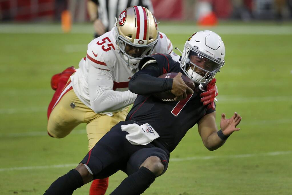 Arizona Cardinals quarterback Kyler Murray is tackled by San Francisco 49ers defensive end Dee Ford during the second half, Thursday, Oct. 31, 2019, in Glendale, Ariz. (AP Photo/Rick Scuteri)