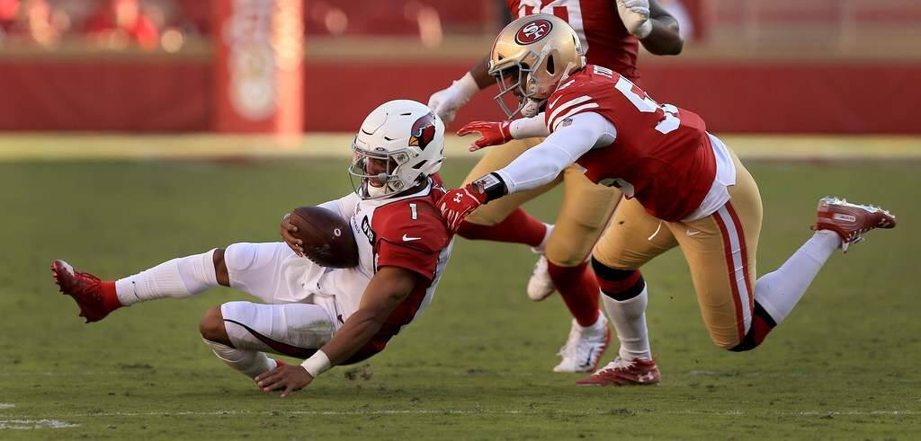 Pass-rush specialist Dee Ford will be among the key players missing for the 49ers when they face Aaron Rodgers and NFC North-leading Green Bay. (Kent Porter / The Press Democrat)