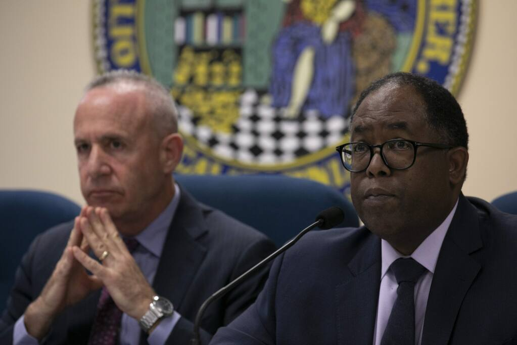 Sacramento Mayor Darrell Steinberg, left, and Los Angeles County Supervisor Mark Ridley-Thomas, who are leading Newsom's task force, have been pushing for some legal leverage to force action on homelessness. (Anne Wernikoff for CalMatters)