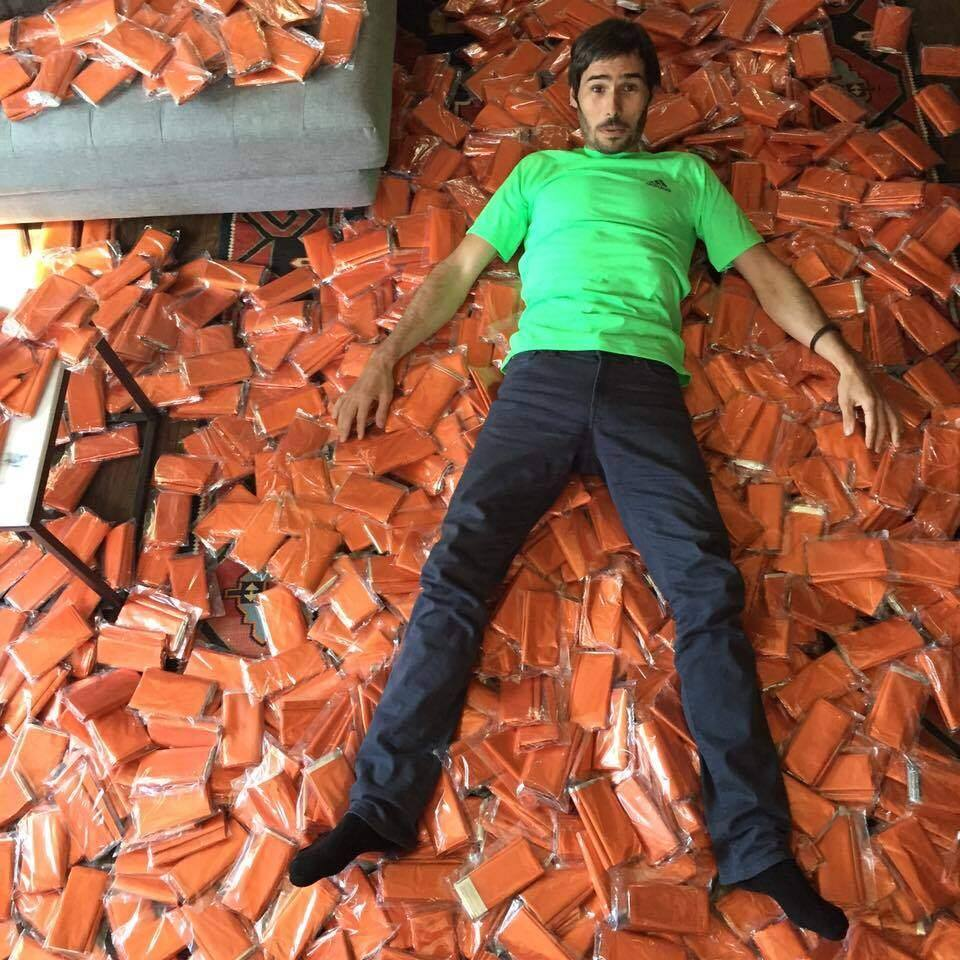 Jorgeson revels in the blanket donations he and his fiancee will bring with them to Greece.