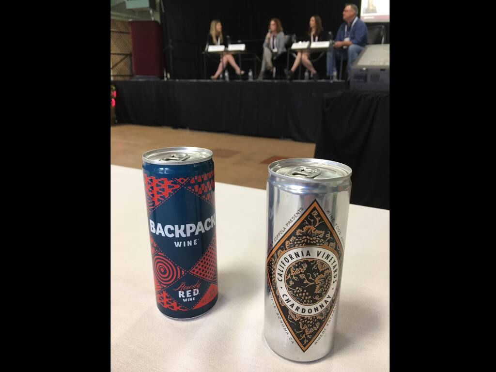 Canned wine products from Backpack Wine Co. and Francis Ford Coppola Winery were on display at the Wine Expo conference at the Sonoma County Fairgrounds, Thursday, Nov. 30, 2017. (Bill Swindell / Press Democrat)