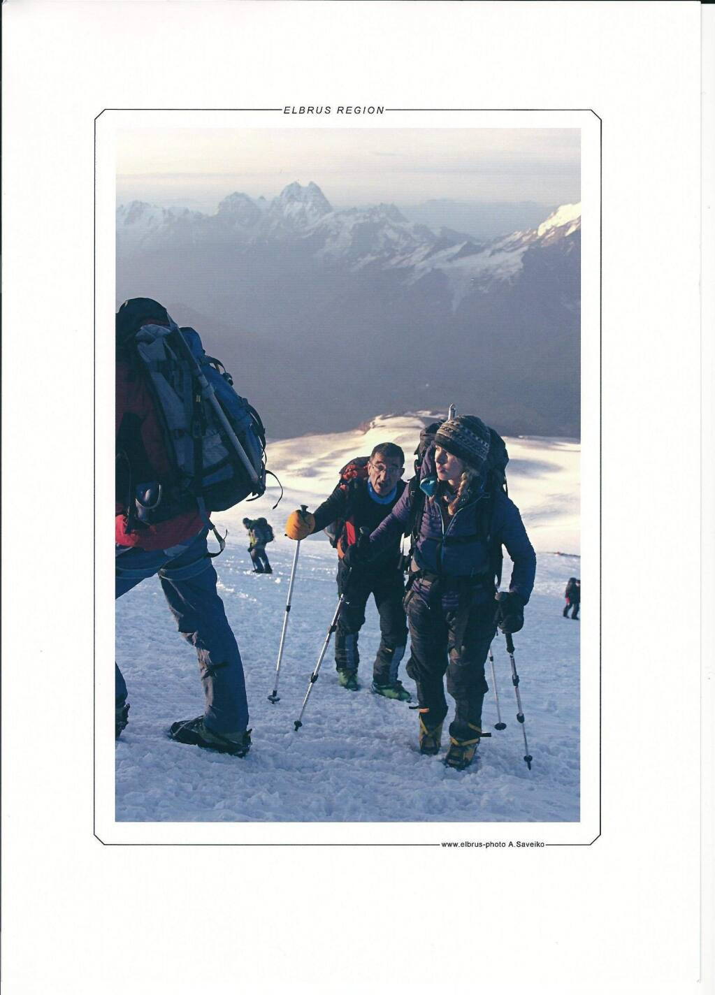 Elyse Ping Medvigy climbing Mount Elbrus in Russia. (Courtesy photo)